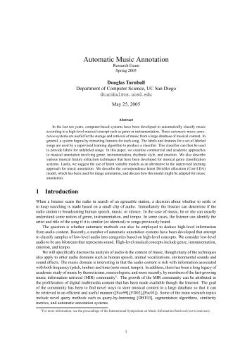 Automatic Music Annotation - CiteSeerX
