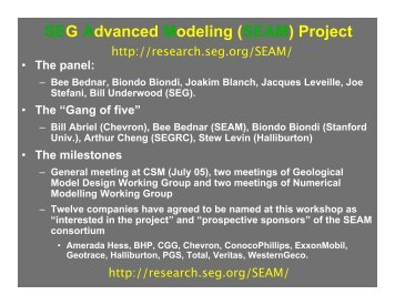SEG Advanced Modeling (SEAM) Project - Stanford Exploration ...