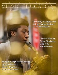 NC Music Educator Spring 2017