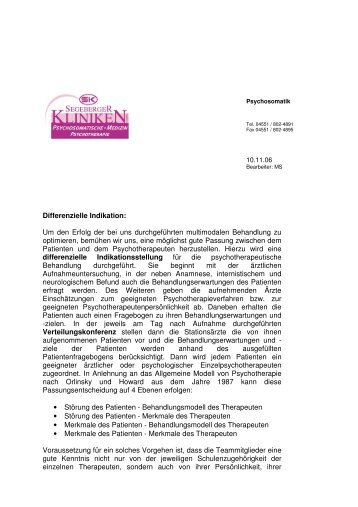 Differenzielle Indikation - Segeberger Kliniken GmbH