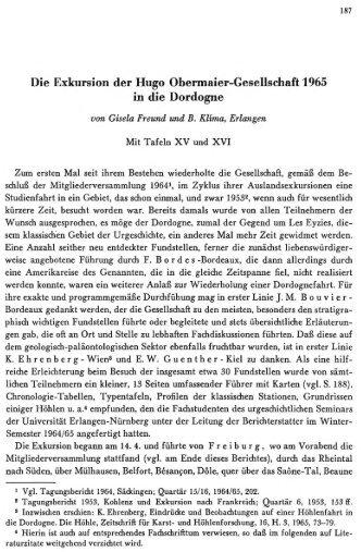 Die Exkursion der Hugo Ohermaier-Gesellschaft 1965 ... - quartaer.eu