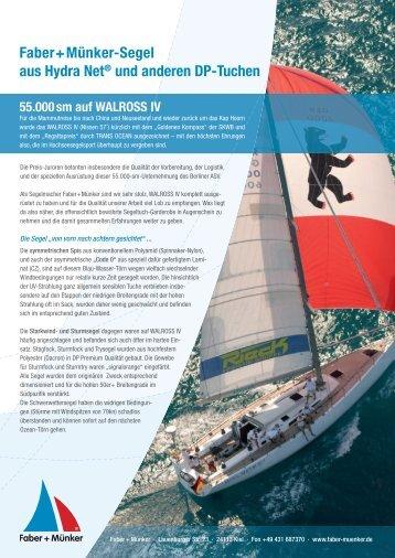 Faber+Münker-Segel aus Hydra Net® und anderen DP-Tuchen