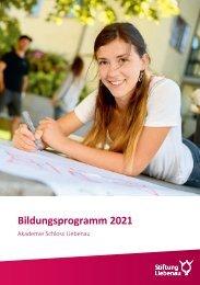 Bildungsprogramm 2021 - Akademie Schloss Liebenau