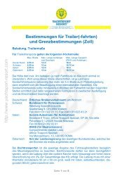 Bestimmungen für Trailer(-fahrten) - Yachtsport-Resort