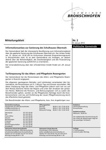Mitteilungsblatt Nr. 2 vom 9. Januar 2012 (pdf - Gemeinde ...