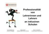 Professionalität von Lehrerinnen und Lehrern an inklusiven Schulen