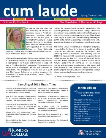 In this Edition - Honors College - University of Arizona