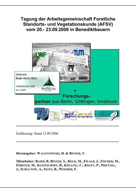 Tagung der Arbeitsgemeinschaft Forstliche Standorts- und ...
