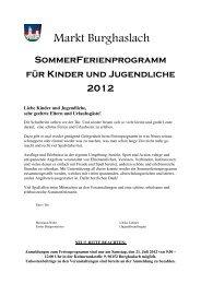 SommerFerienprogramm für Kinder und Jugendliche 2012 - Markt ...
