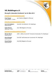 Sportlerehrungen - VfL Waiblingen