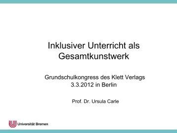 Inklusiver Unterricht als Gesamtkunstwerk - Universität Bremen