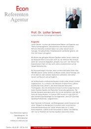 Prof. Dr. Lothar Seiwert - Econ Referenten-Agentur