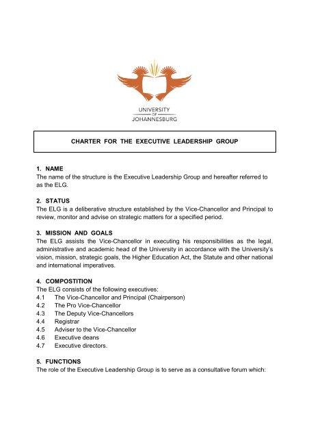 Charter - Executive leadership group