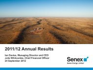 2011/12 Annual Results Presentation - Senex Energy Limited