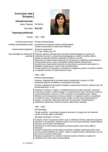 Curriculum vitae Europass - Inspectoratul Şcolar al Judeţului Iaşi
