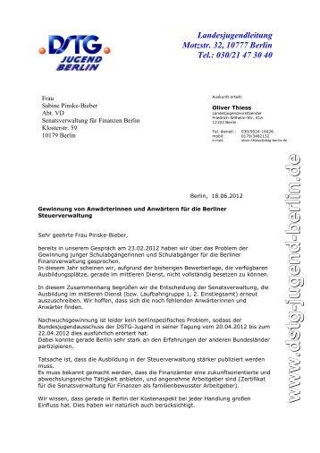 Landesjugendleitung Motzstr. 32, 10777 Berlin Tel. - DSTG Jugend ...