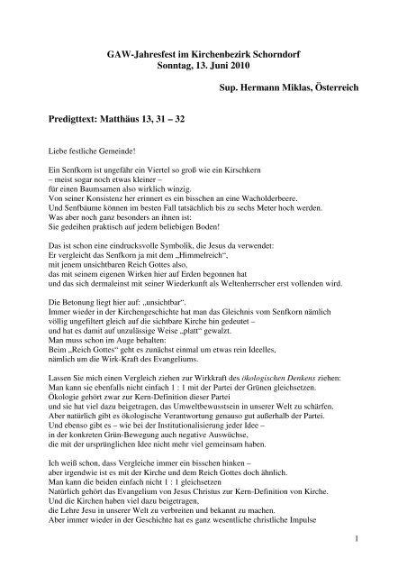 Matthäus 13, 31-22 - Gustav-Adolf-Werk eV