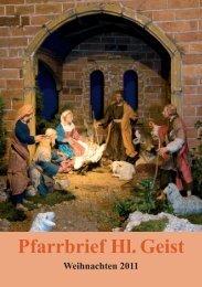 Pfarrbrief Weihnachten 2011 - Termine