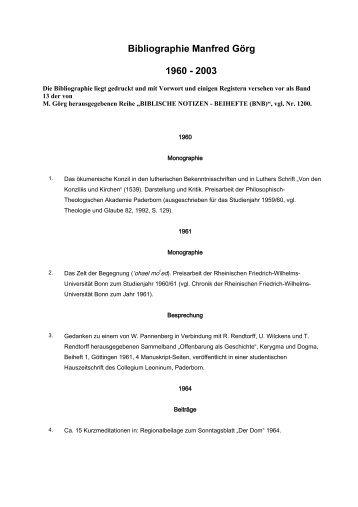 Bibliographie Manfred Görg 1960 - 2003 - Katholisch-Theologische ...