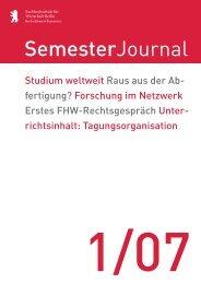 SemesterJournal 1/07 - MBA Programme der HWR Berlin