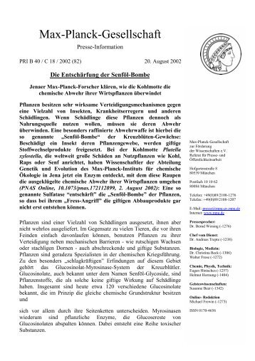 Die Entschärfung der Senföl-Bombe - Max Planck Institute for ...