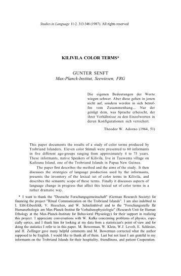 KILIVILA COLOR TERMS* GUNTER SENFT Max-Planck ... - PubMan