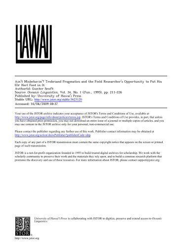 trobriand pragmaticsand the field researcher's opportunity ... - PubMan