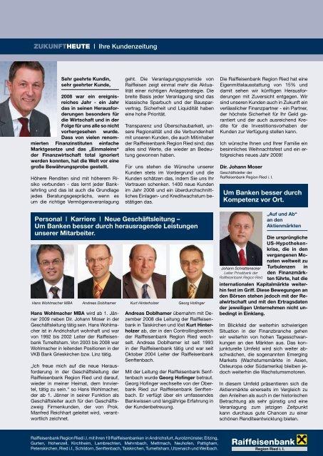 ZUKUNFTHEUTE | Ihre Kundenzeitung Personal ... - Raiffeisen
