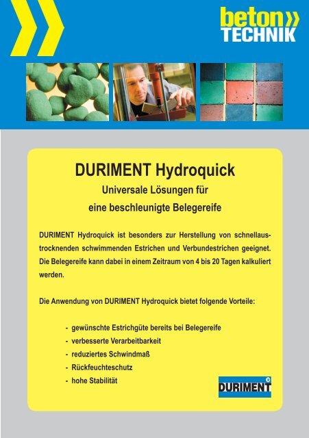 DURIMENT Hydroquick Universale Lösungen für ... - Betontechnik