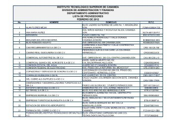 Lista de Proveedores Febrero 2012 - Gobierno del Estado de Sonora