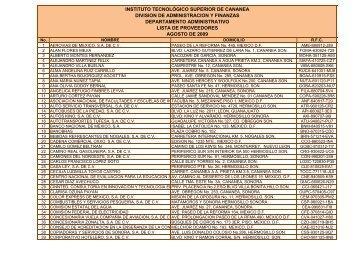 Lista de Proveedores Agosto 2009 - Gobierno del Estado de Sonora