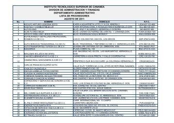 Lista de Proveedores Agosto 2011 - Gobierno del Estado de Sonora
