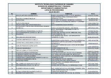 Lista de Proveedores Julio 2011 - Gobierno del Estado de Sonora