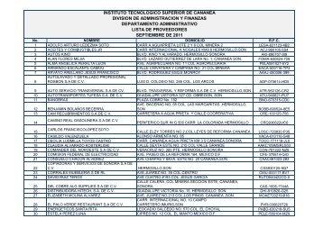 Lista de Proveedores Septiembre 2011 - Gobierno del Estado de ...