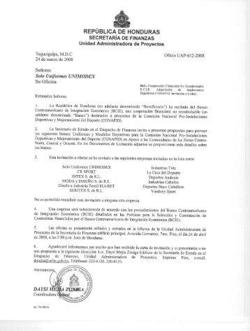 REPÚBLICA DE HONDURAS SECRETARÍA DE ... - HonduCompras