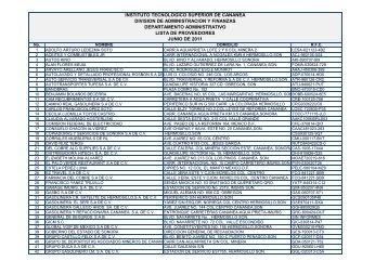Lista de Proveedores Junio 2011 - Gobierno del Estado de Sonora