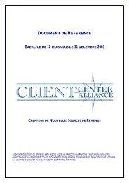 DOCUMENT DE REFERENCE - Zonebourse.com