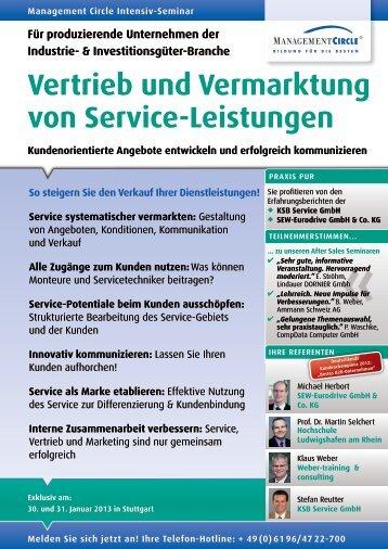 Vertrieb und Vermarktung von Service-Leistungen - Management ...