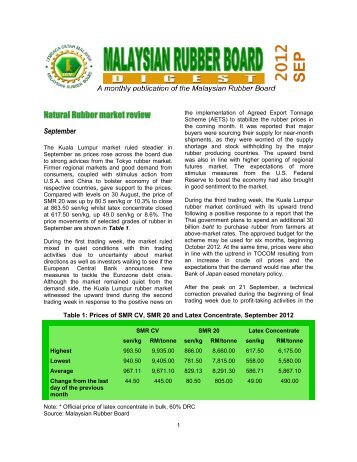 2012 SEP - LGM - Malaysian Rubber Board