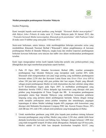 Medini pemangkin pembangunan Iskandar Malaysia - Khazanah ...