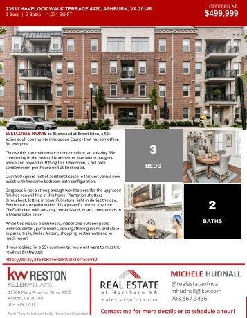 2020-1107 - OH - Ashburn Virginia - Condo 55+ - 23631 Havelock Walk Terrace #420 - Brochure - Northern Virginia Real Estate - Michele Hudnall