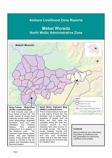 Livelihood Profile Amhara Region, Ethiopia North Wollo     - FEG