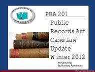 Public Records Act Case Law Update Winter 2012 - Washington ...