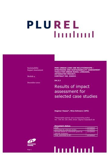 Results of impact assessment for selected case studies - Plurel