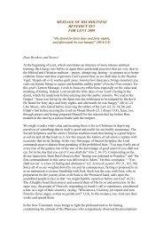 Message for Lent 2009 - Apostleship of Prayer