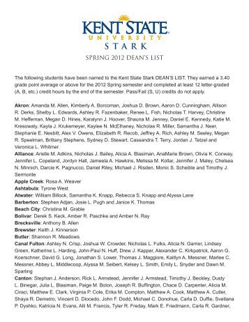 SPRING 2012 DEAN'S LIST - Kent State University at Stark