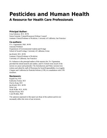 Pesticides and Human Health - Physicians for Social Responsibility