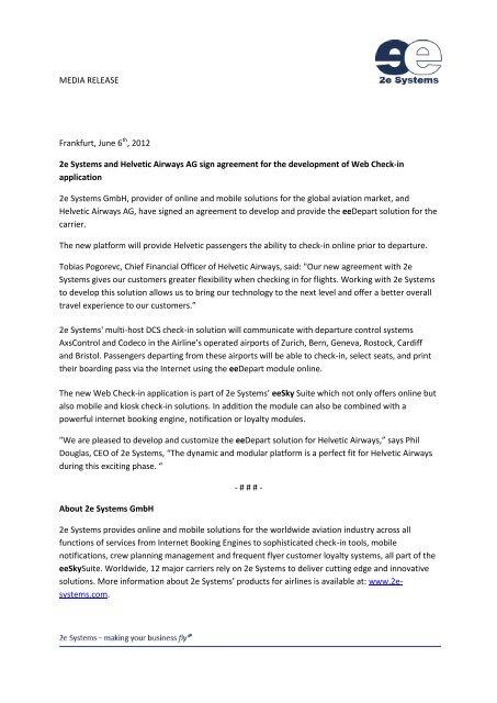 Download media release (PDF) - 2e Systems