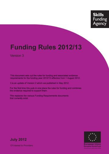 Funding Rules 2012/13 - Version 3 - lsc.gov.uk