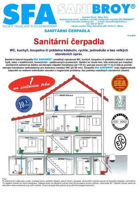 Sanitární čerpadla - SFA SANIBROY CZ